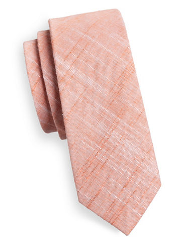 Haight And Ashbury Slim Solid Linen-Blend Tie-RED-One Size
