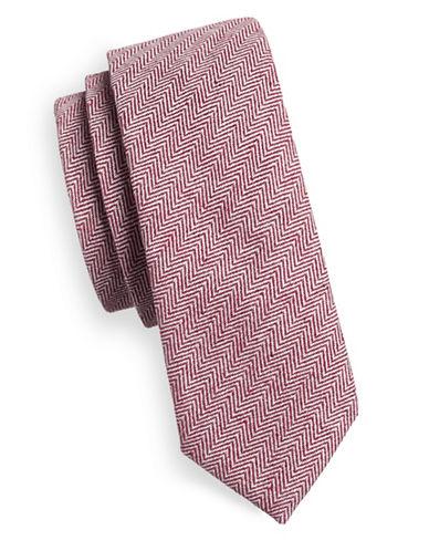 Haight And Ashbury Slim Herringbone Linen-Blend Tie-BURGUNDY-One Size