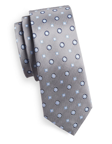 Haight And Ashbury Slim Geo Link Silk Tie-GREY-One Size