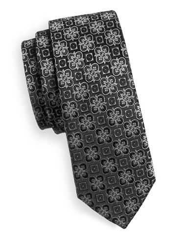 Haight And Ashbury Floral Tile Pattern Tie-BLACK-One Size