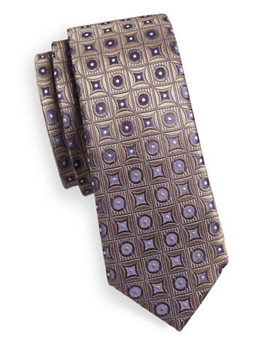 Haight And Ashbury Geometric Silk Tie-PURPLE-One Size