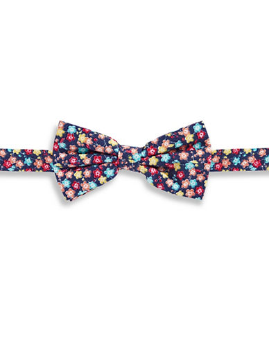 Haight And Ashbury Ditsy Floral Cotton Pre-Tied Bow Tie-NAVY-One Size