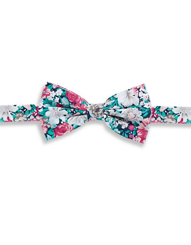 Haight And Ashbury Floral Cotton Pre-Tied Bow Tie-GREEN-One Size