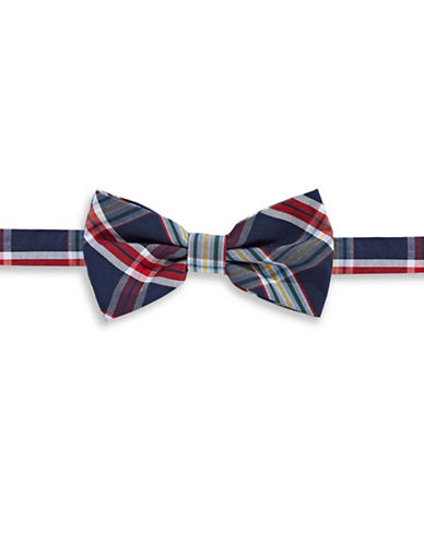 Haight And Ashbury Plaid Cotton Pre-Tied Bow Tie-NAVY-One Size