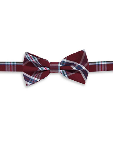 Haight And Ashbury Plaid Cotton Pre-Tied Bow Tie-BURGUNDY-One Size