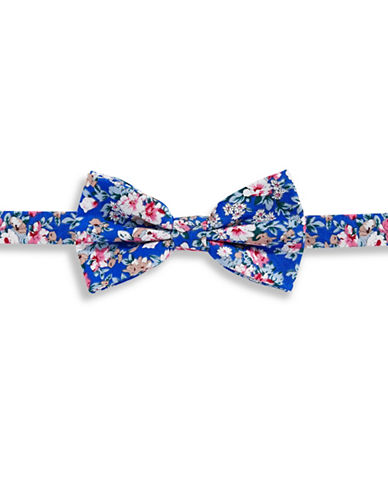 Haight And Ashbury Floral Cotton Pre-Tied Bow Tie-BLUE-One Size