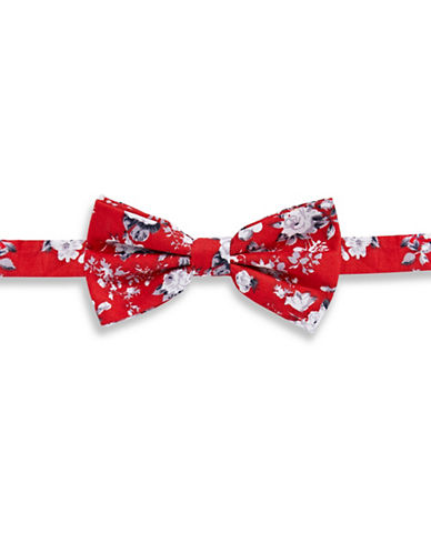 Haight And Ashbury Vintage Floral Cotton Pre-Tied Bow Tie-RED-One Size