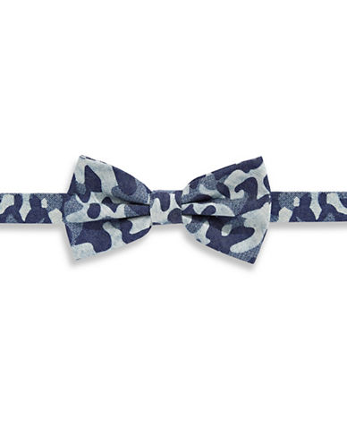 Haight And Ashbury Camouflage Cotton Pre-Tied Bow Tie-BLUE-One Size
