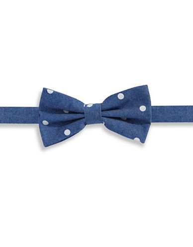 Haight And Ashbury Dotted  Denim Pre-Tied Bow Tie-BLUE-One Size