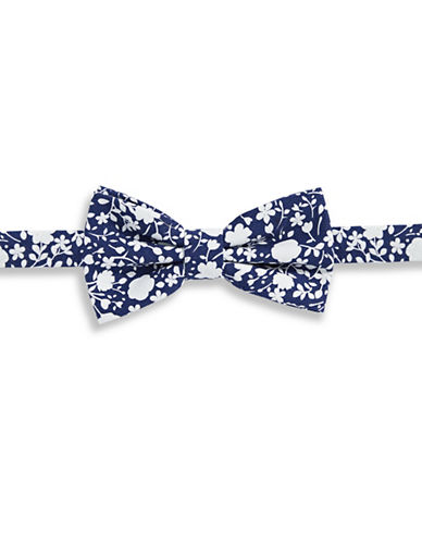 Haight And Ashbury Floral Cotton Pre-Tied Bow Tie-NAVY-One Size
