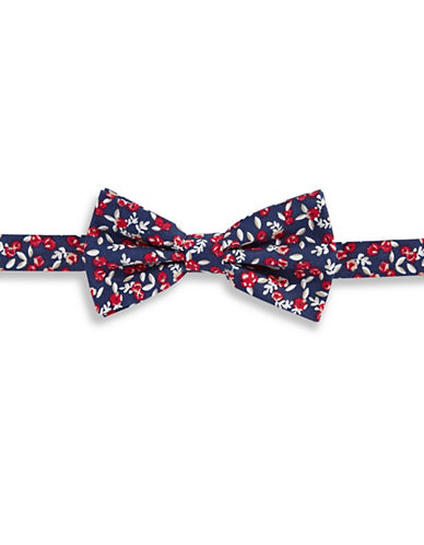 Haight And Ashbury Ditsy Floral Cotton Pre-Tied Bow Tie-RED-One Size