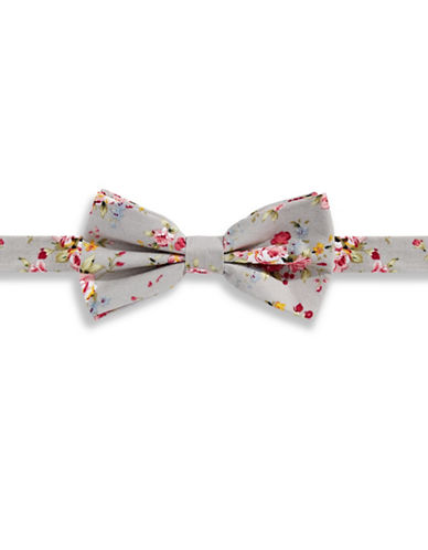 Haight And Ashbury Vintage Floral Cotton Pre-Tied Bow Tie-GREY-One Size