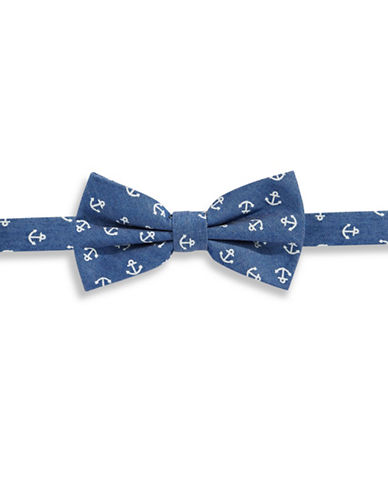 Haight And Ashbury Anchors Cotton Pre-Tied Bow Tie-BLUE-One Size