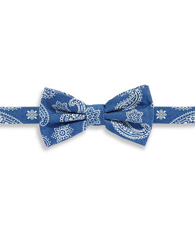 Haight And Ashbury Paisley Denim Pre-Tied Bow Tie-BLUE-One Size