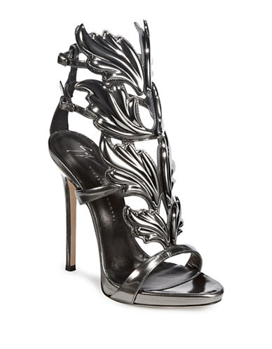 Giuseppe Zanotti Foliage Hardware Leather Sandals-ANTHRACITE-EUR 38.5/US 8.5