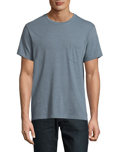 Save Khaki Heathered Open Pocket T-Shirt-BLUE-Large