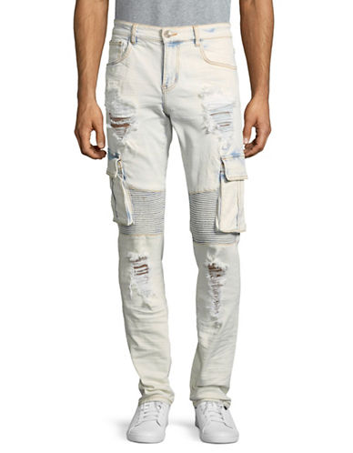 Embellish Liam Ripped Cargo Pants-BLUE-32