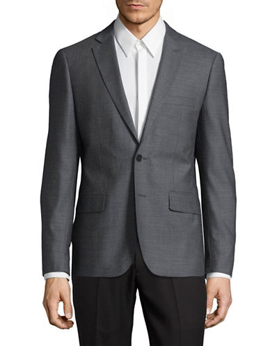 Haight And Ashbury Northwood Wool-Silk Suit Jacket-GREY/BLUE-42 Regular
