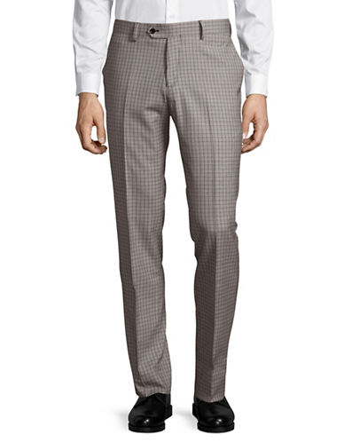 Haight And Ashbury Wool-Blend Flat-Front Pants-GREY/BURGUNDY-34 Regular