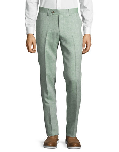 Haight And Ashbury Linen Flat-Front Pants-GREEN-34 Regular