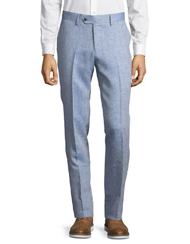 Haight And Ashbury Linen Flat-Front Pants-BLUE-28