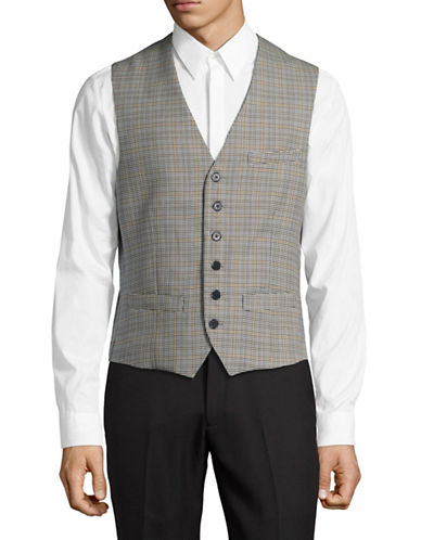 Haight And Ashbury Plaid Upton Vest-GREY-Small