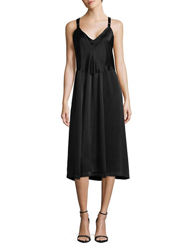 Horses Atelier Silk Shift Dress-BLACK-4