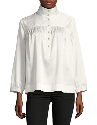 Horses Atelier High Collar Metallic Linen Blouse-IVORY-2