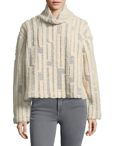 Horses Atelier Raised-Stitch Cowl Neck Crop Sweater-GREY-1