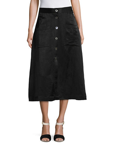 Horses Atelier High Waist Button Metallic Skirt-BLACK-3