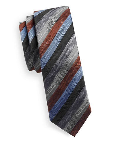 Haight And Ashbury Multi-Stripe Silk Tie-BLUE-One Size