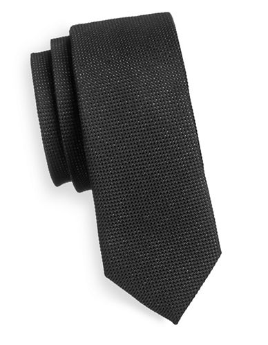 Haight And Ashbury Slim Textured Sheen Tie-BLACK/SILVER-One Size