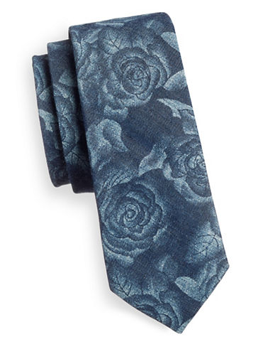 Haight And Ashbury Cotton Floral Print Tie-BLUE-One Size