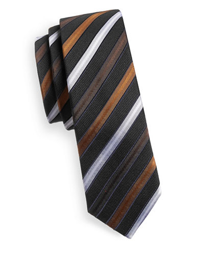 Haight And Ashbury Slim Striped Tie-BLACK-One Size