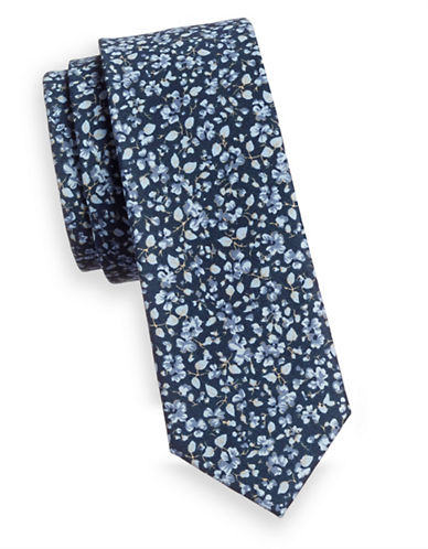 Haight And Ashbury Floral Print Slim Tie-BLUE-One Size