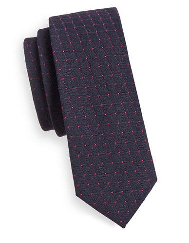 Haight And Ashbury Slim Jacquard Dot Tie-NAVY/PINK-One Size