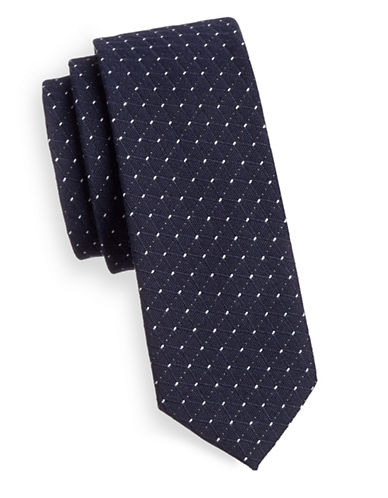 Haight And Ashbury Slim Cotton Geometric Tie-BLUE/WHITE-One Size