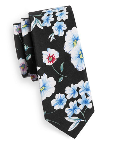 Haight And Ashbury Floral Print Slim Tie-NAVY/WHITE-One Size