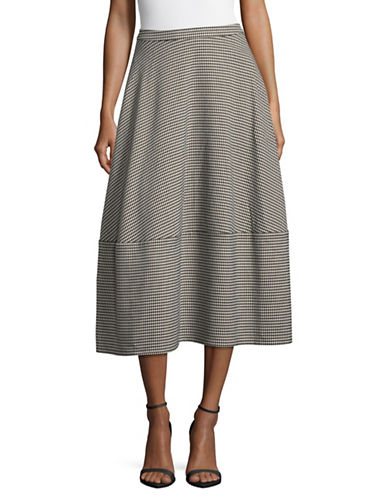 Paskal Houndstooth High-Waist Skirt-GREY-Medium