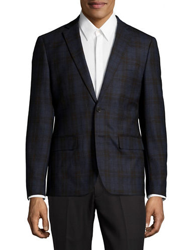Haight And Ashbury Classic-Fit Northwood Plaid Wool Sports Jacket-BLUE-48 Regular
