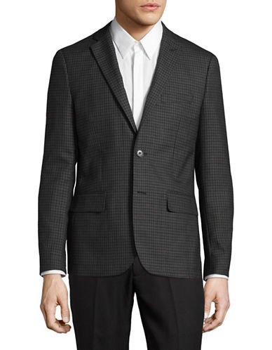 Haight And Ashbury Northwood Check Wool Blazer-GREY-48 Regular