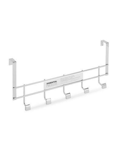 Essential Needs Over-the-Door Five-Hook Steel Hanger-CHROME-One Size