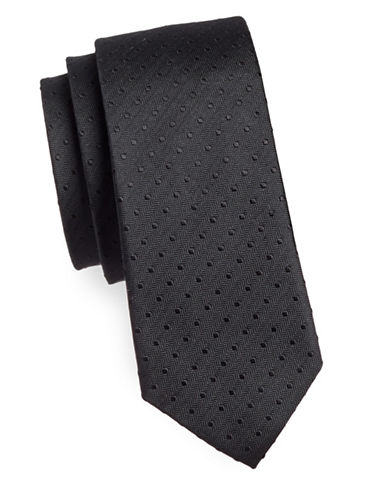 Haight And Ashbury Dotted Cotton Slim Tie-BLACK-One Size
