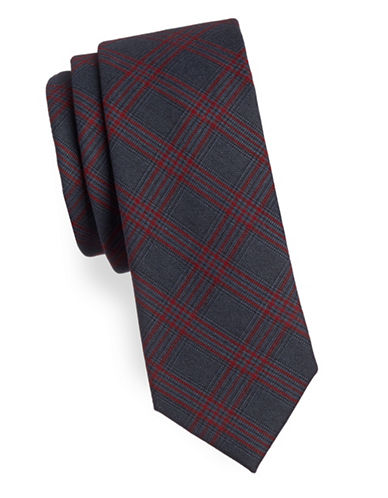 Haight And Ashbury Plaid Cotton Slim Tie-RED-One Size
