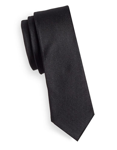Haight And Ashbury Birdseye Silk Tie-BLACK-One Size