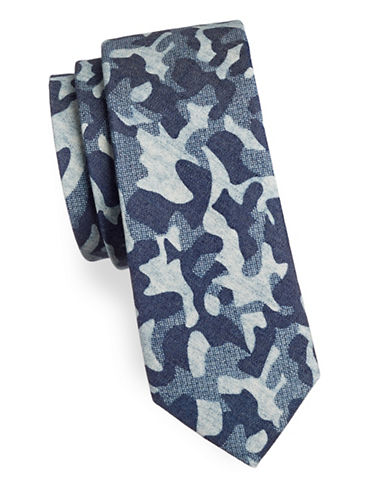 Haight And Ashbury Camouflage Cotton Slim Tie-BLUE-One Size