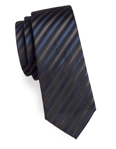 Haight And Ashbury Striped Cotton Slim Tie-BLUE-One Size
