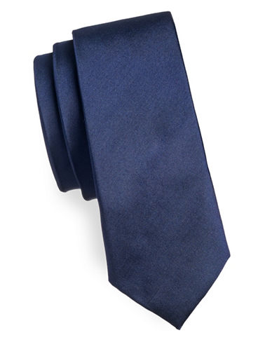 Haight And Ashbury Slim Solid Silk Tie-NAVY-One Size