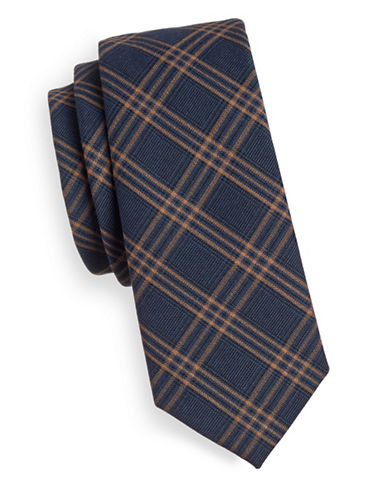 Haight And Ashbury Plaid Cotton Tie-COPPER-One Size
