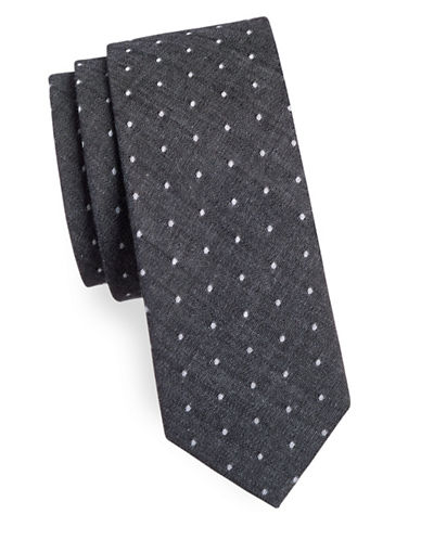 Haight And Ashbury Polka Dot Slim Cotton Tie-GREY-One Size